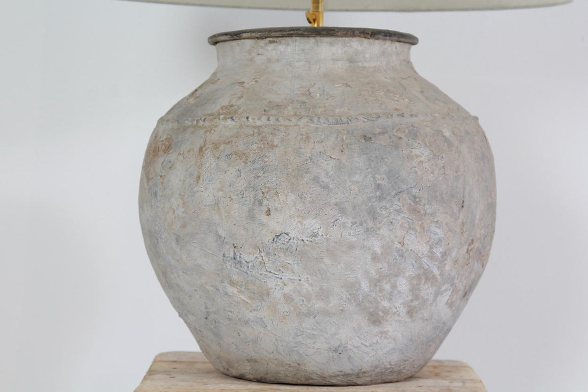 Large Rustic Antique Pottery Lamp with Drum Linen Shade
