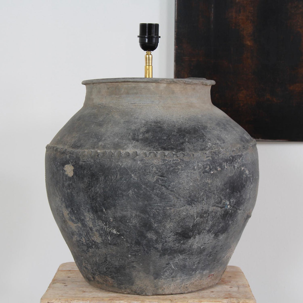 XXL Rustic Antique  Pottery Lamp with Drum Linen Shade