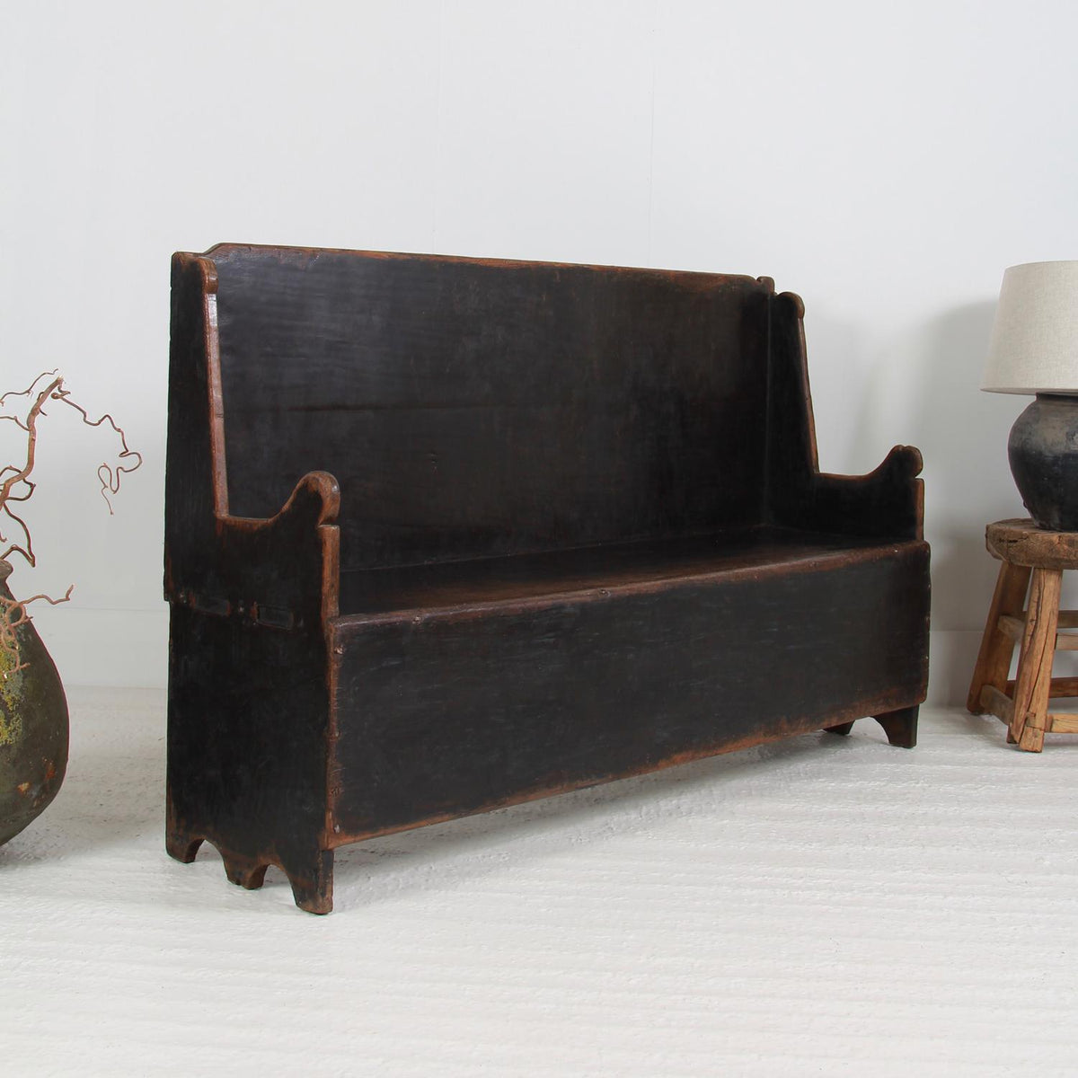 Primitive Spanish 18thC Catalan Chestnut  Bench