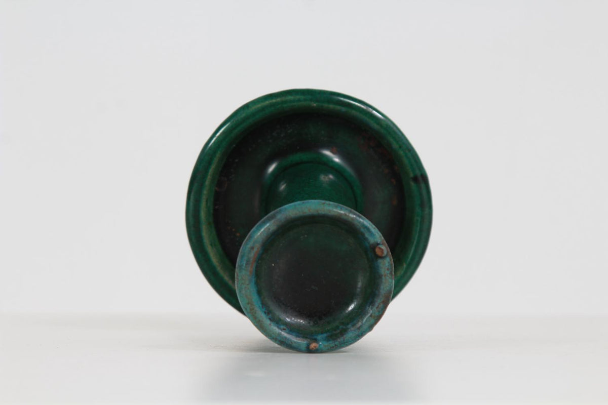 Collection of Three Earthenware Turquoise & Green Candle Holders