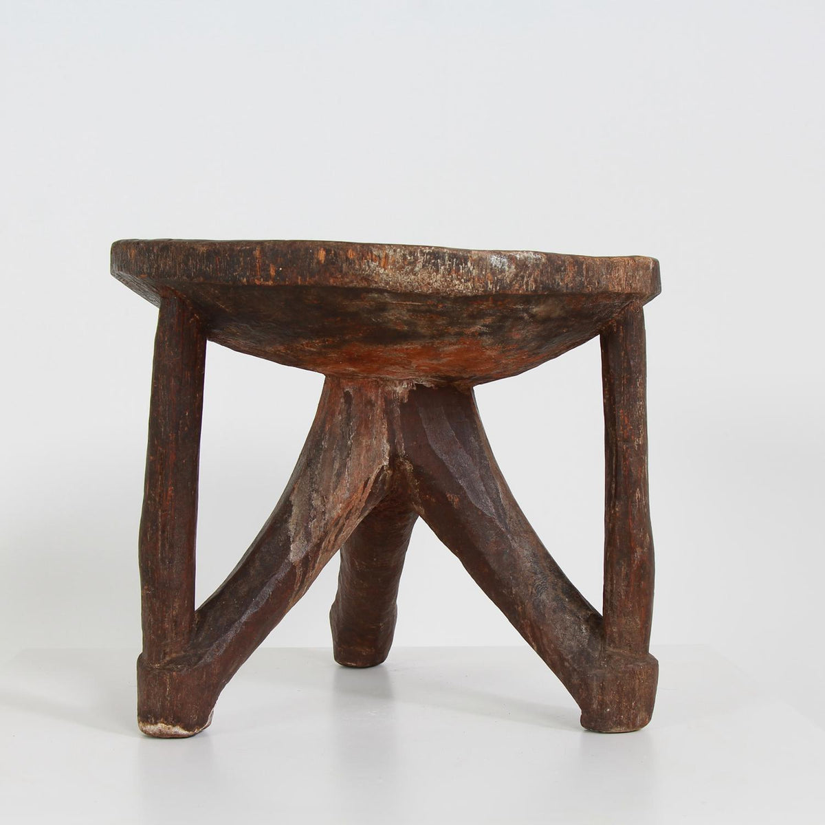 Hand Carved Tribal Tanzanian Hehe Round Tripod Stool
