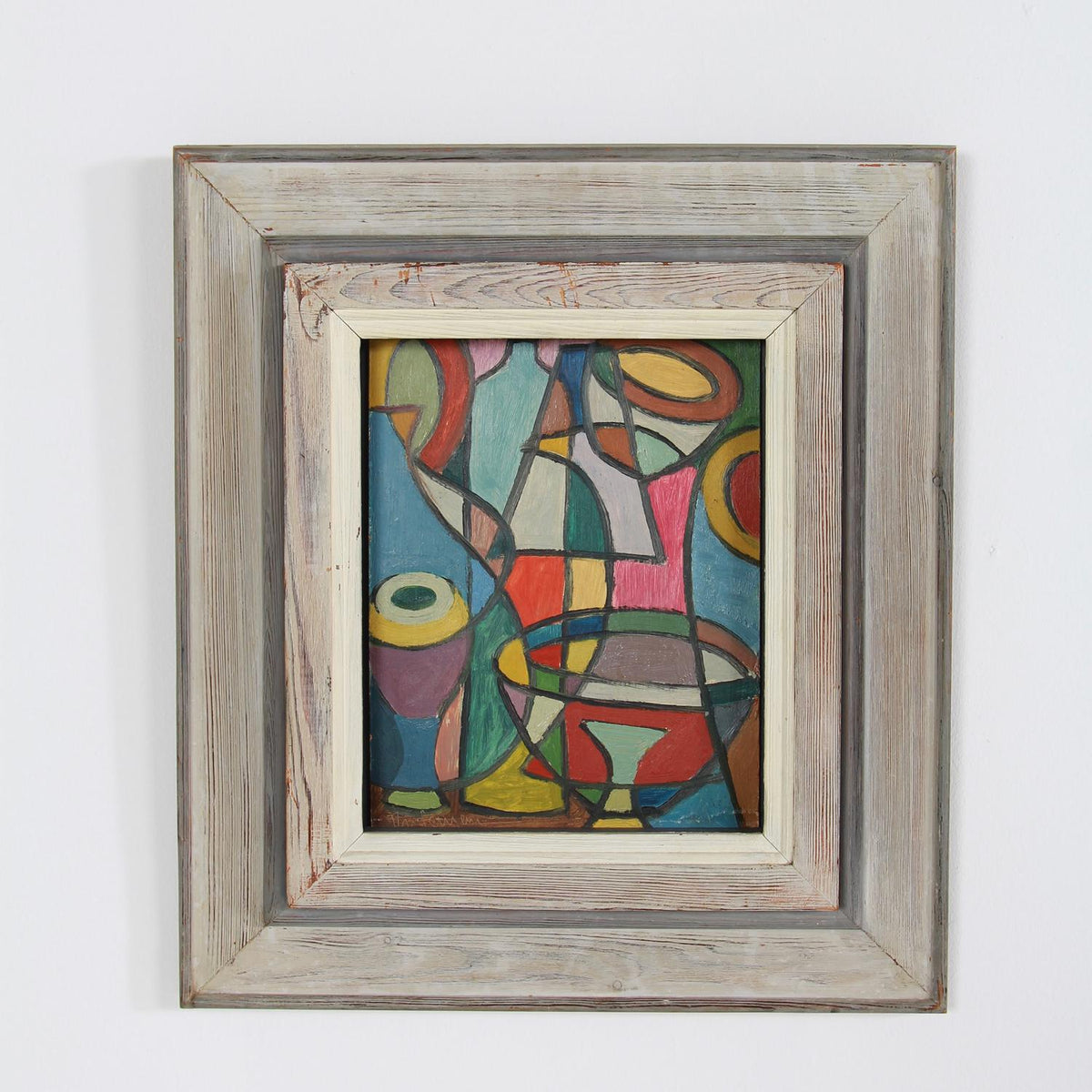 Cubist Swedish Abstract Oil on Board in Frame Signed Erik Thiderman