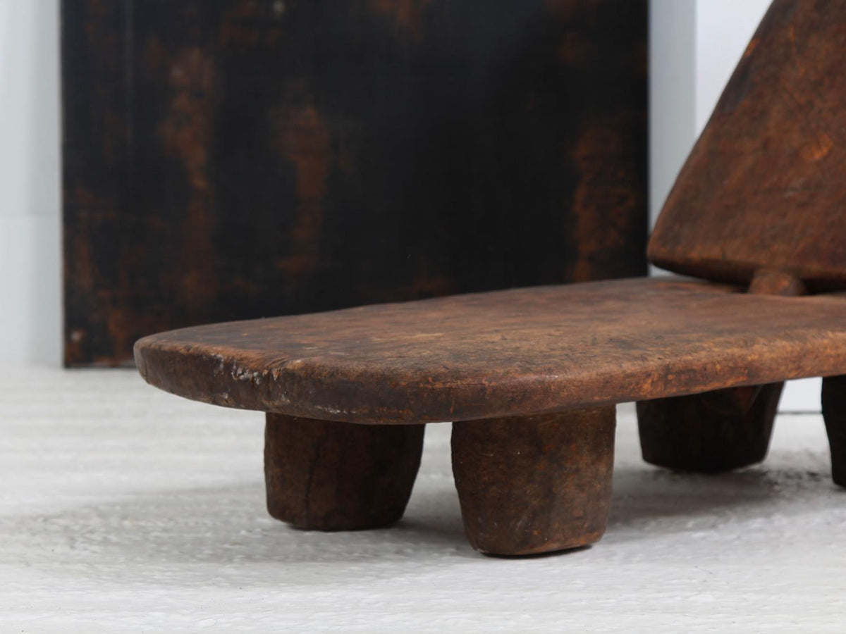 Ethiopian Dark Wood Low Tribal Chair with Removable Panel Back
