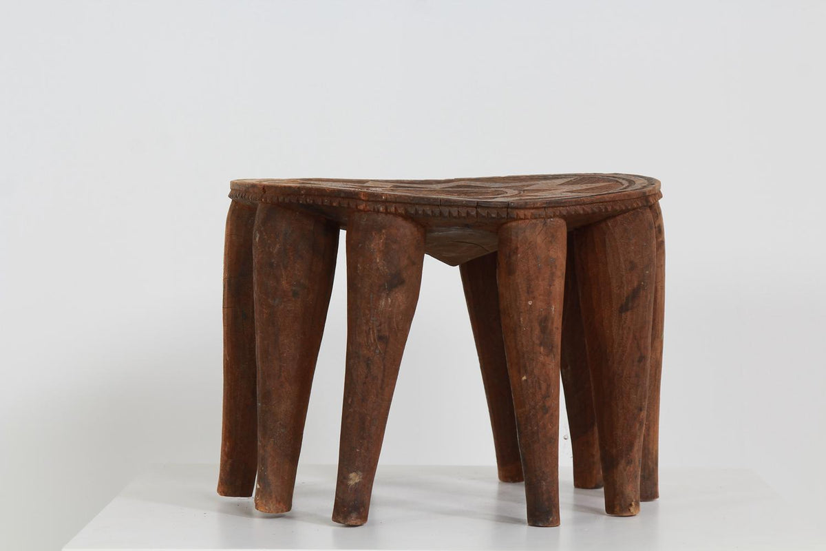 African Tribal Nupe Stool Carved Top With Star & Interlaced Designs