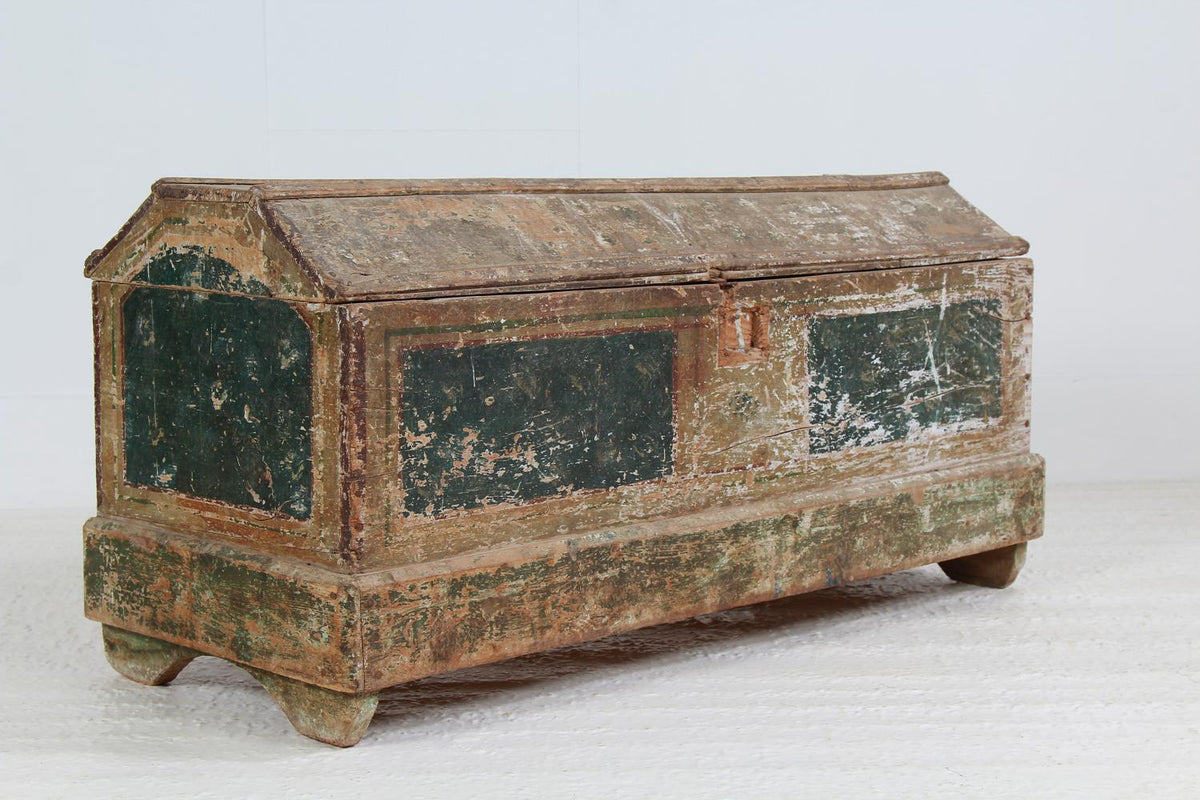Ancient French 18thC Original Painted Trunk/Coffer