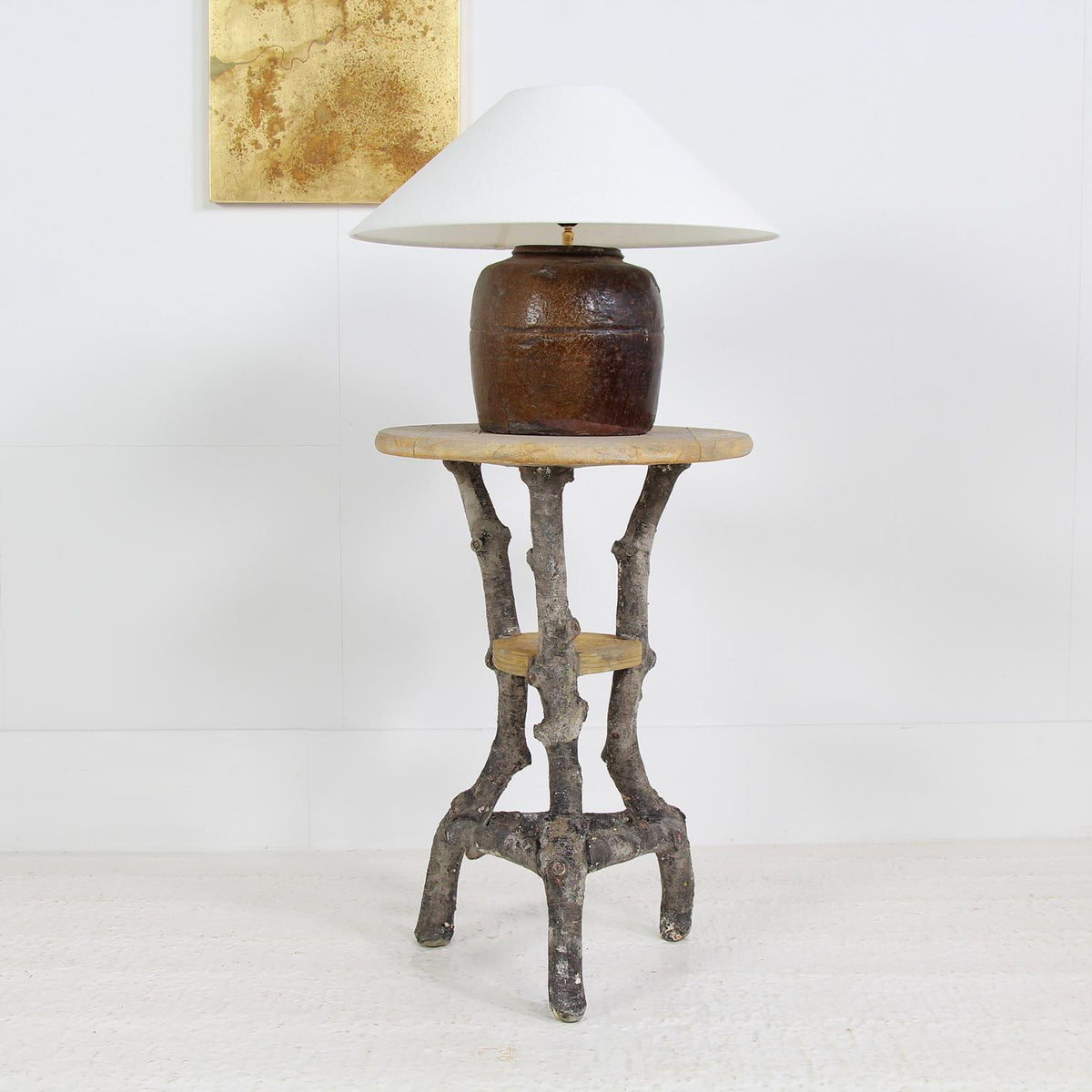 Wonderful French Sculptural  Faux Bois Lamp Table