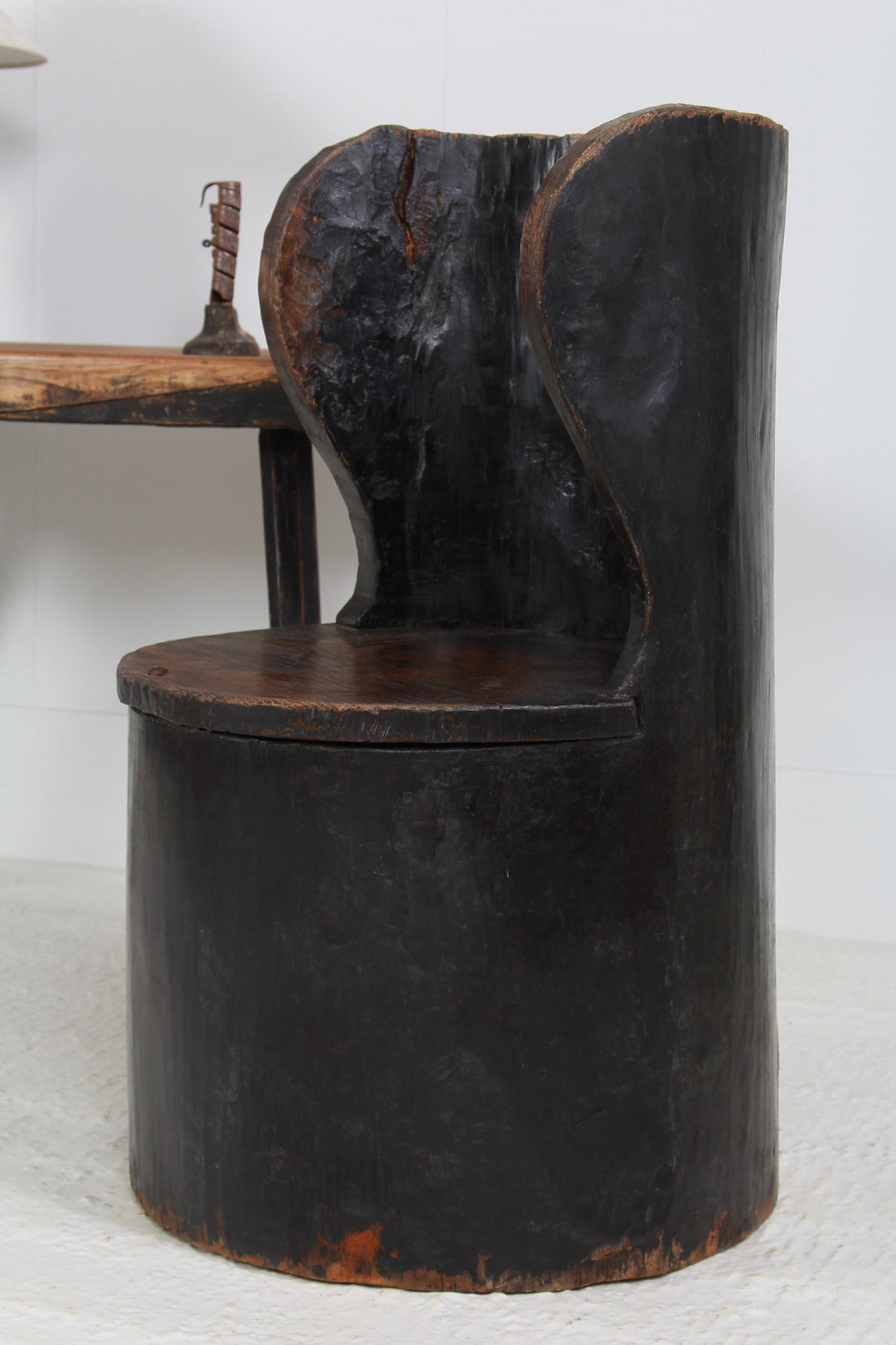 EARLY SWEDISH PRIMITIVE 18thC  DUG-OUT CHAIR