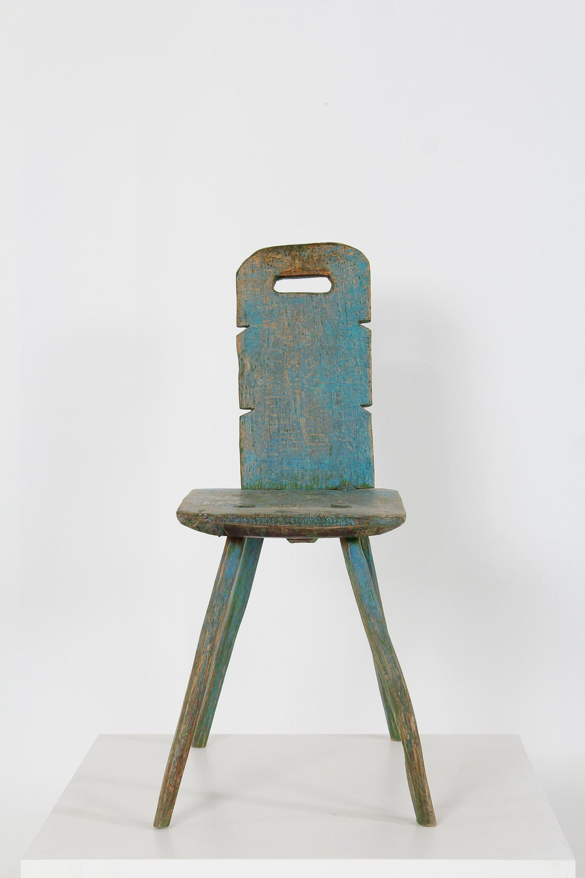 Primitive Swedish  Folk Art Stool In Original Powder Blue Paint