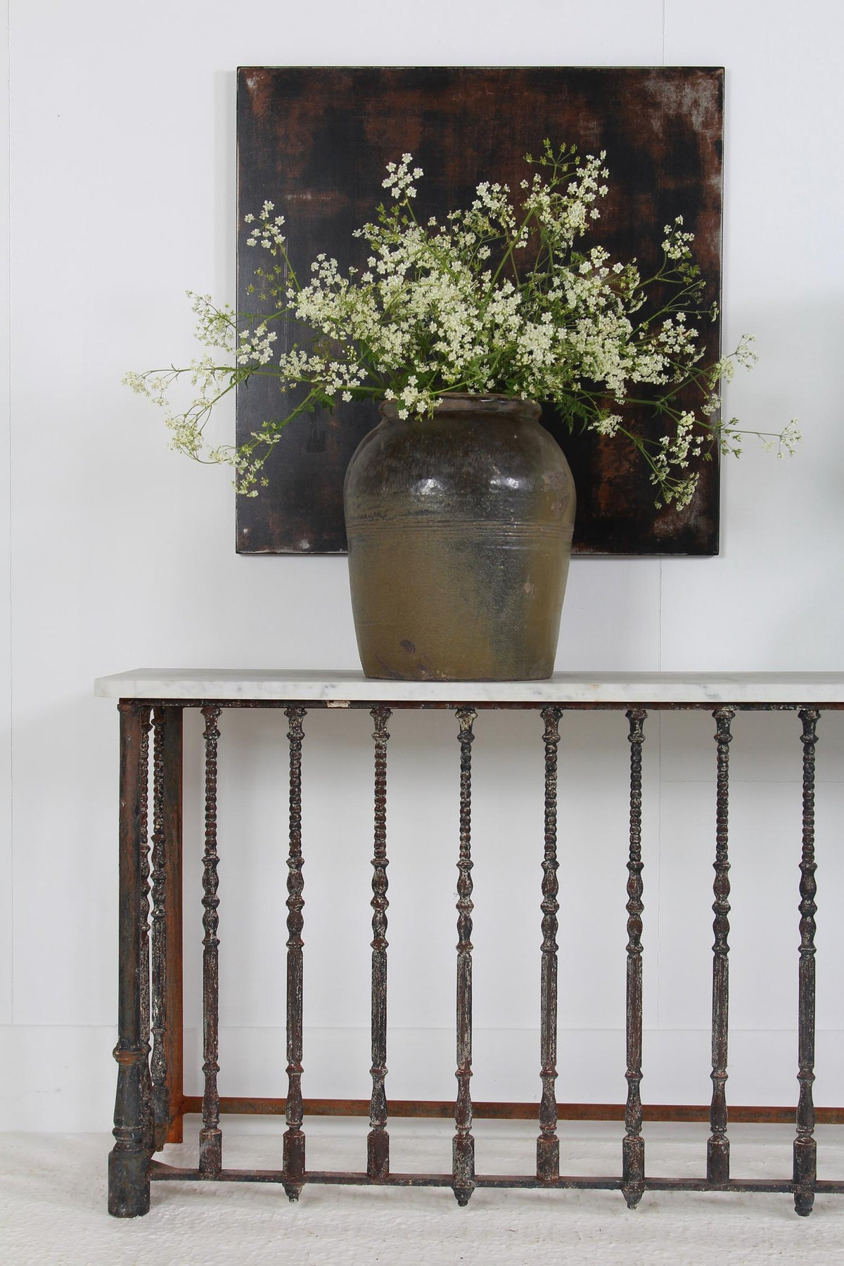 Impressive Architectural French 19thC Iron & Marble Console Table
