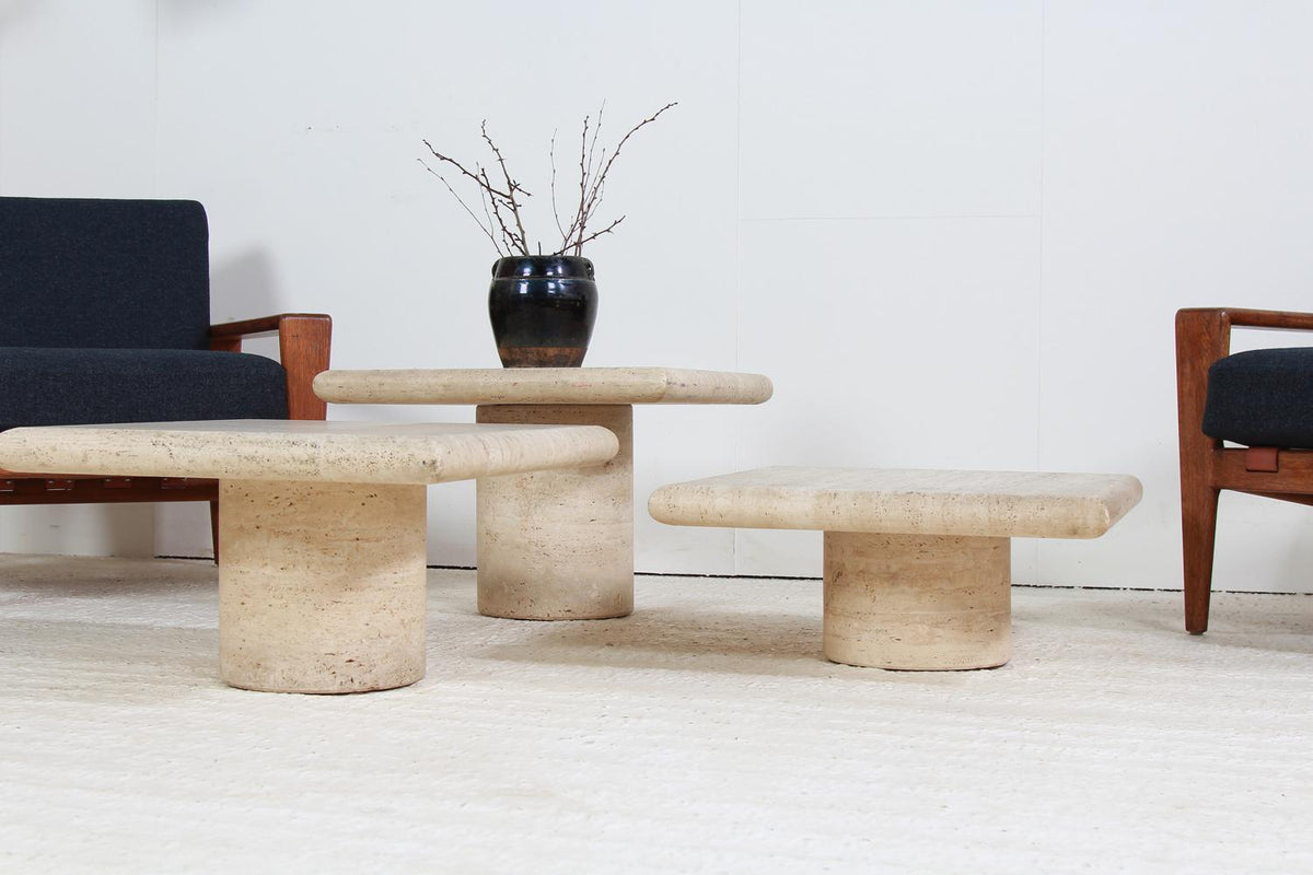 Set of Three Italian Square Travertine Coffee Tables