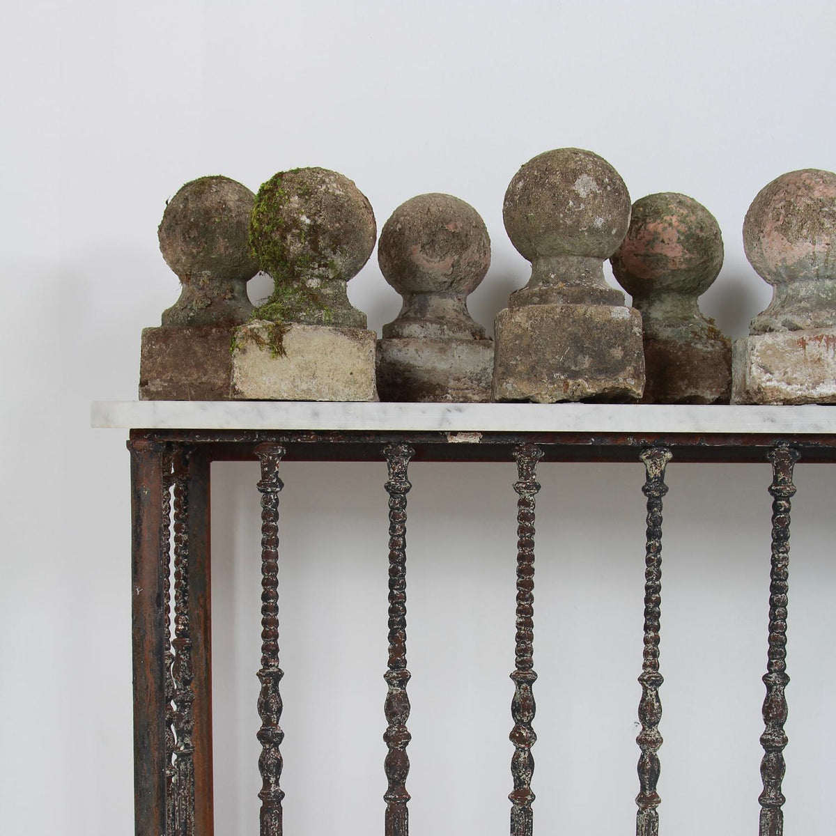 Collection of Decorative Lichen Encrusted Composite Garden Balls