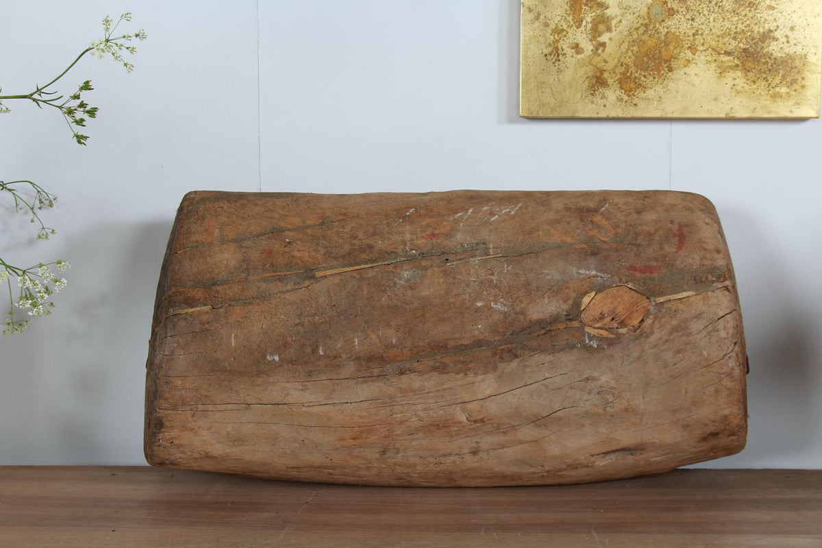 Primitive French  Wooden Gnarly Carved  Trough
