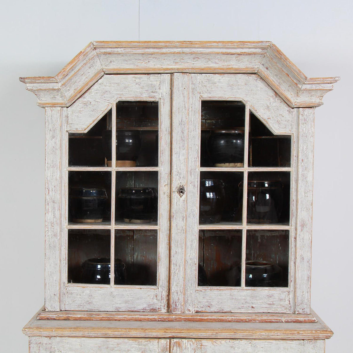 Exquisite Scandinavian 18thC Baroque  Painted Glazed Cabinet