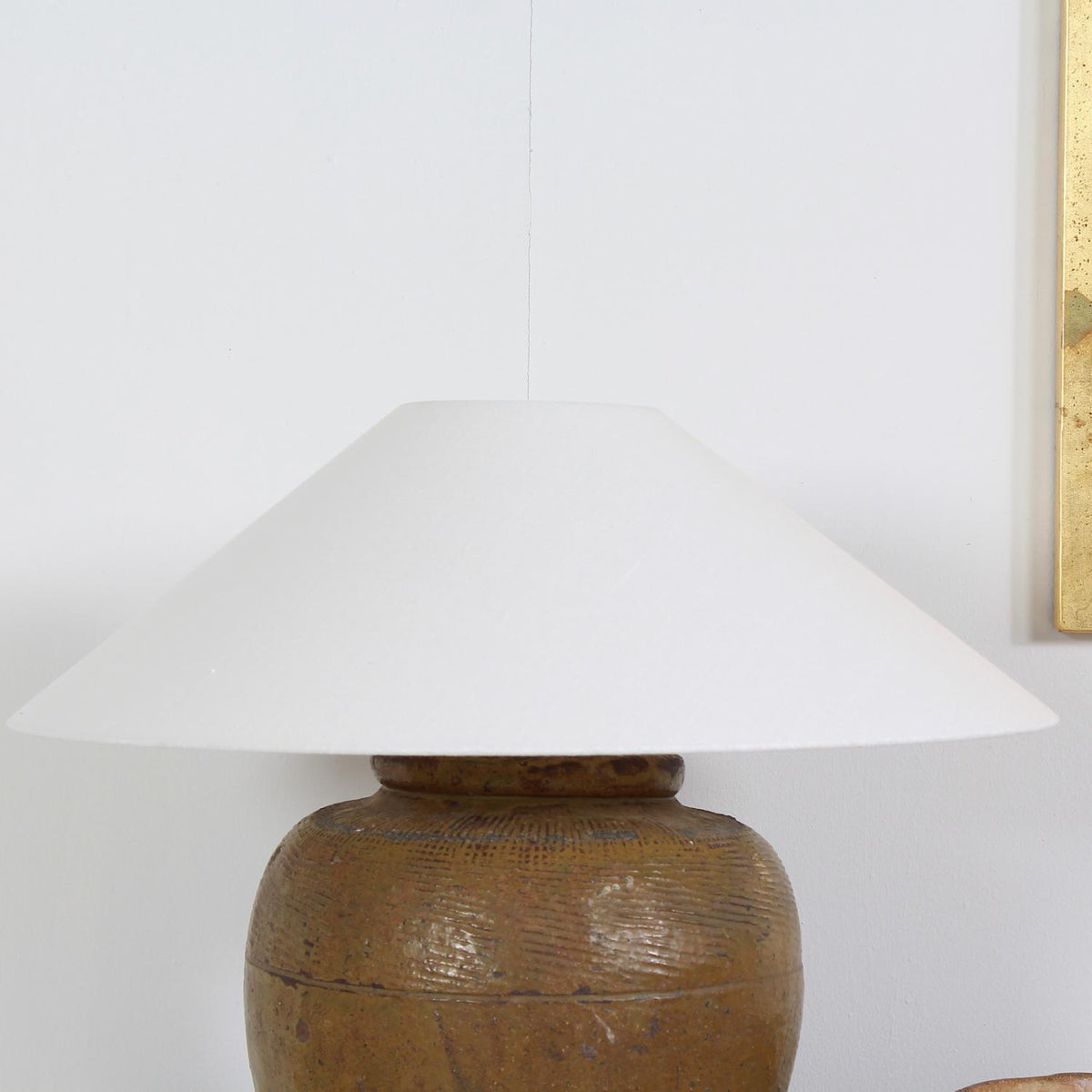Authentic  Chinese Ceramic Water Pot Converted into Lamp with Shade