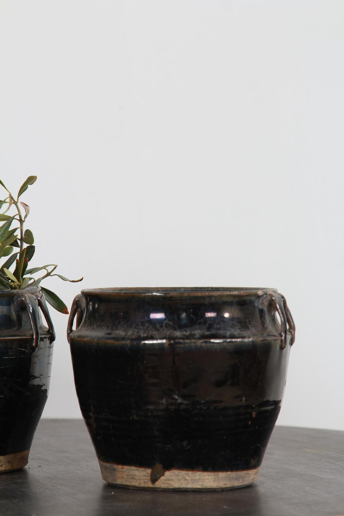 ANTIQUE BLACK HANDMADE CHINESE POTTERY JARS