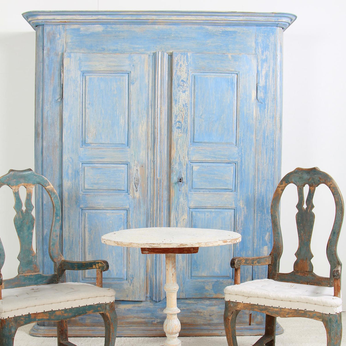 French 18th Century Painted Cupboard from Alsace