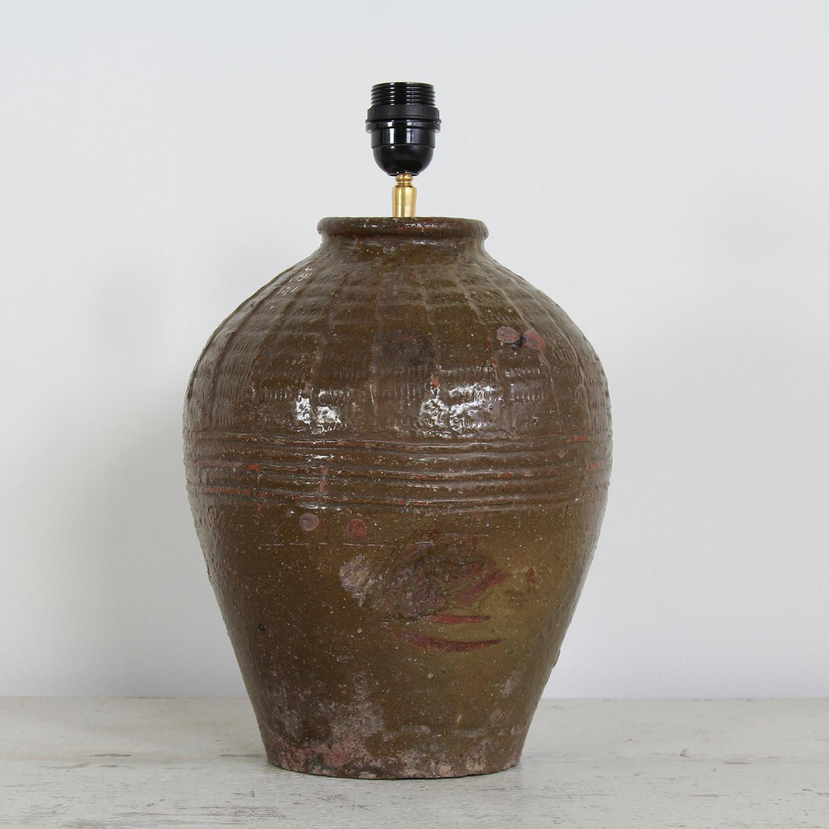 RUSTIC GLAZED OLIVE GREEN EGG VASE LAMP WITH NATURAL LINEN SHADE