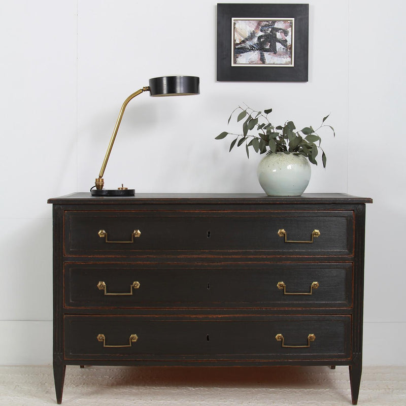 Elegant French 19thC Three-Drawer Black Painted Commode