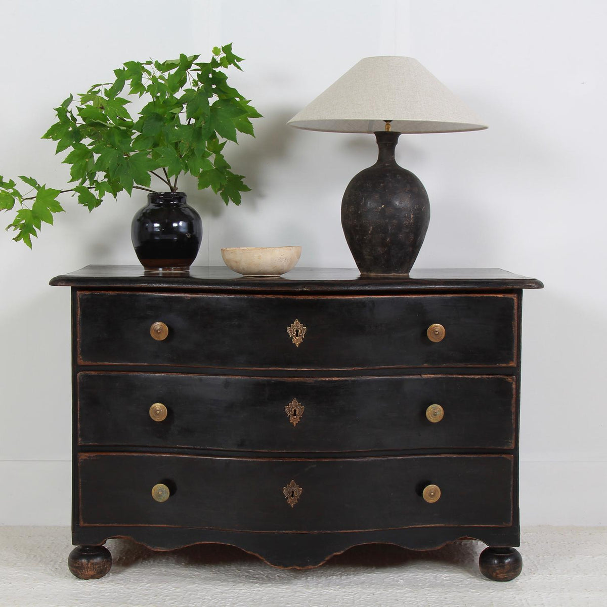 Striking French 19thC Black Painted Serpentine Commode