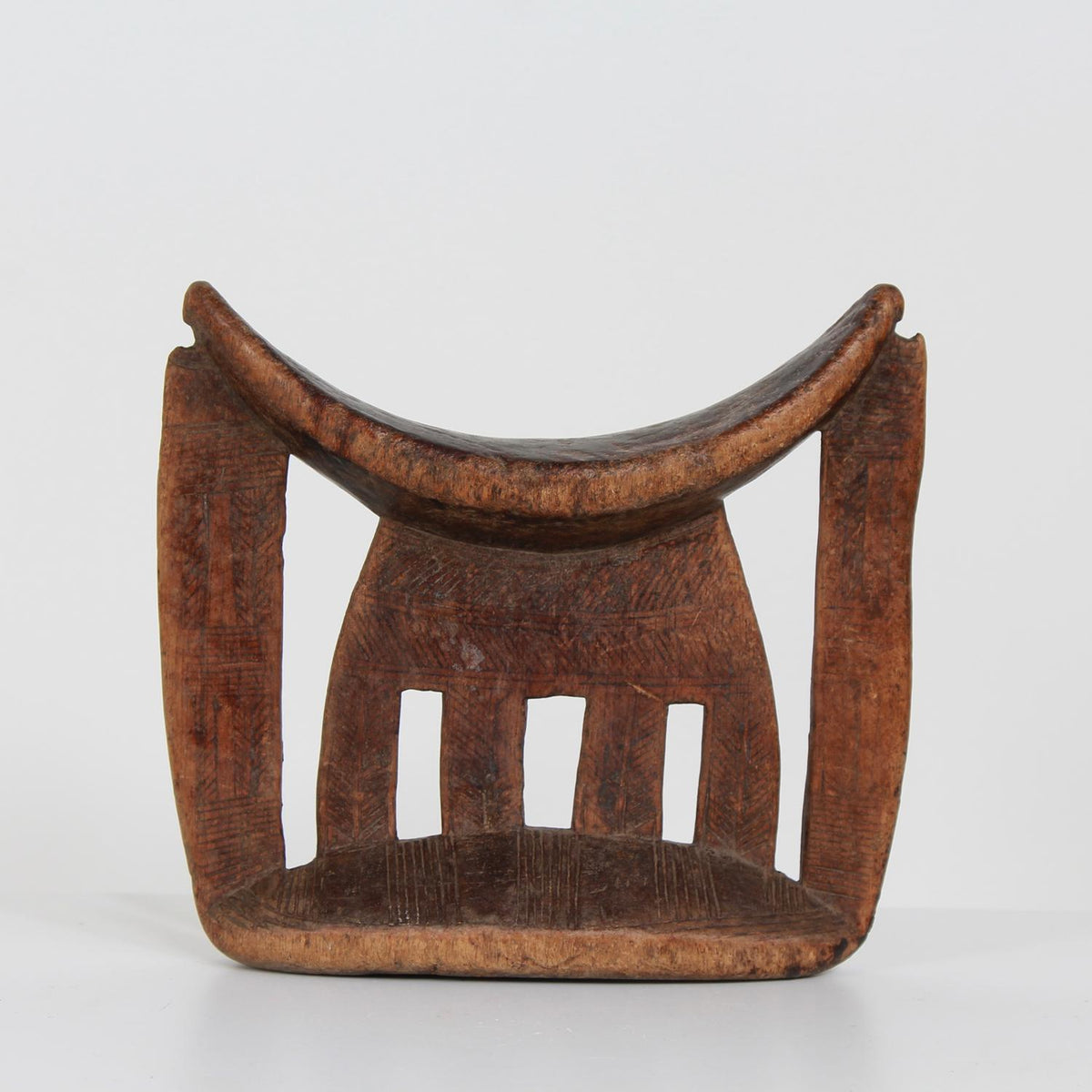 African Tribal Headrest in Carved Wood from Ethiopia
