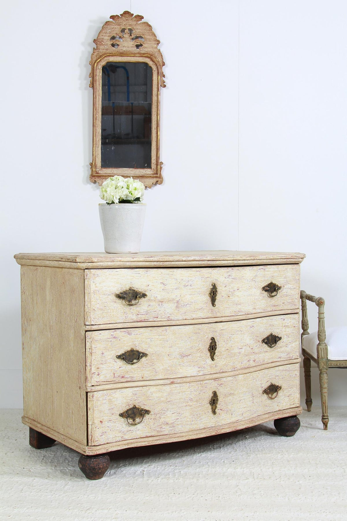 French Early 19thC Painted Serpentine Chest of Drawers
