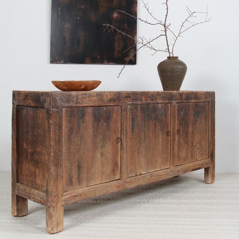 Simple Rustic Country Elm Provincial Sideboard