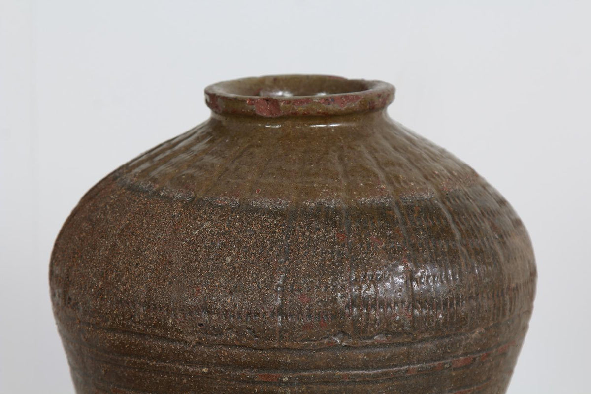 Beautiful Wabi Sabi Early 20thC Chinese Stoneware Glazed Pot