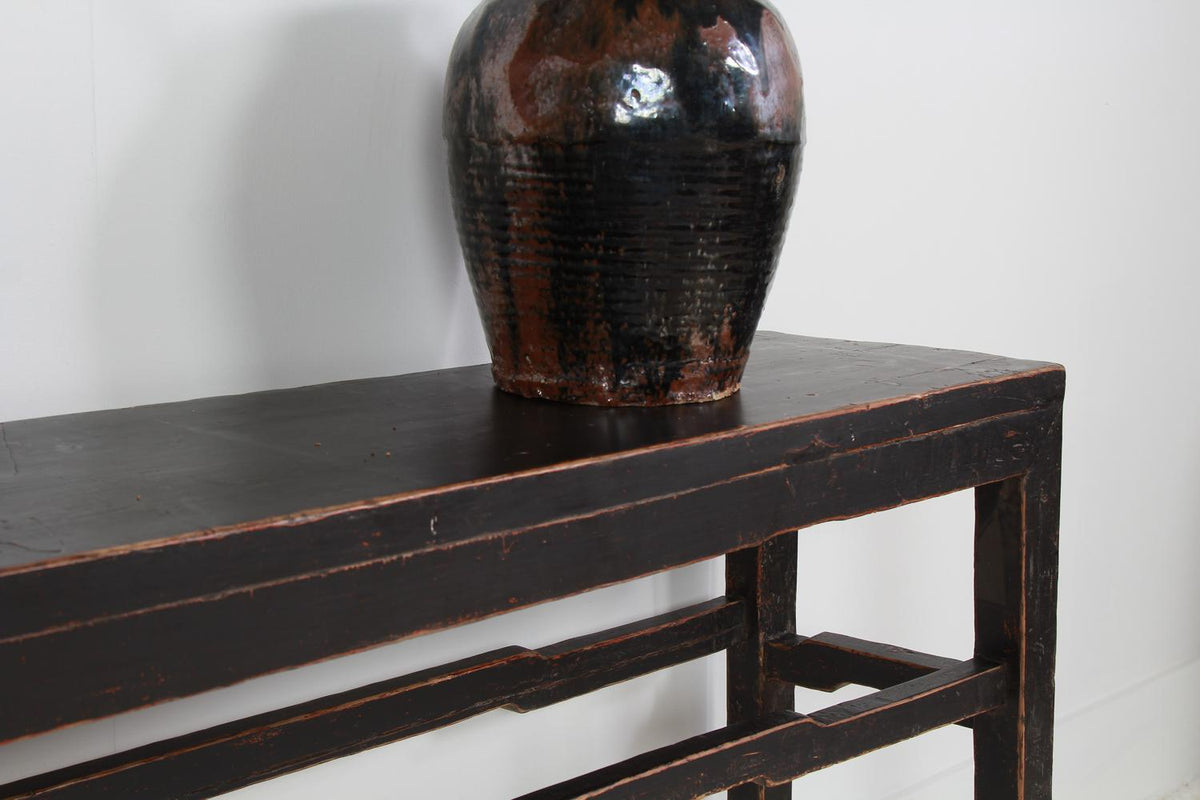 Stylish Antique Black Lacquered Console Table