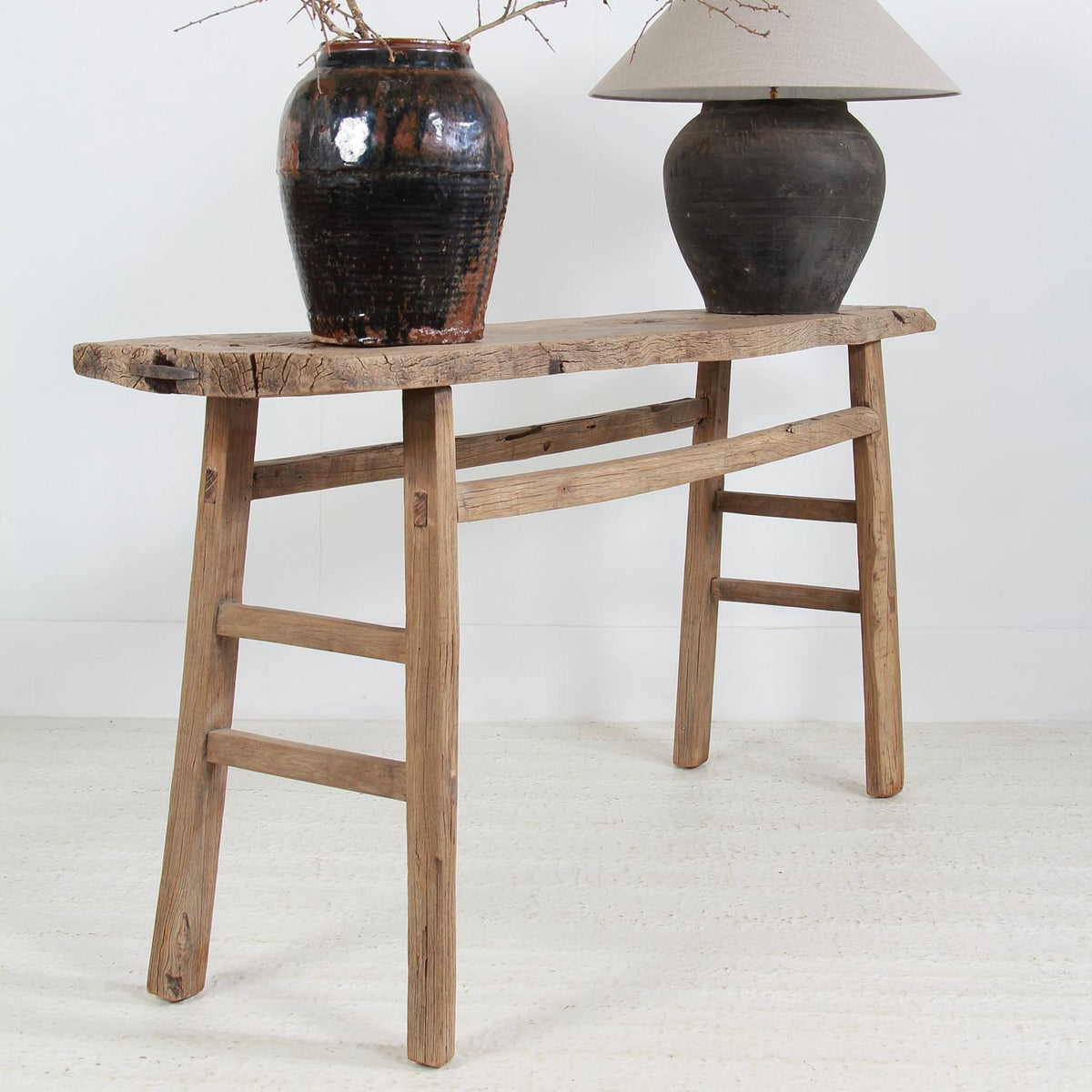 Large Rustic Organic Elm Wabi Sabi Console Trestle Table