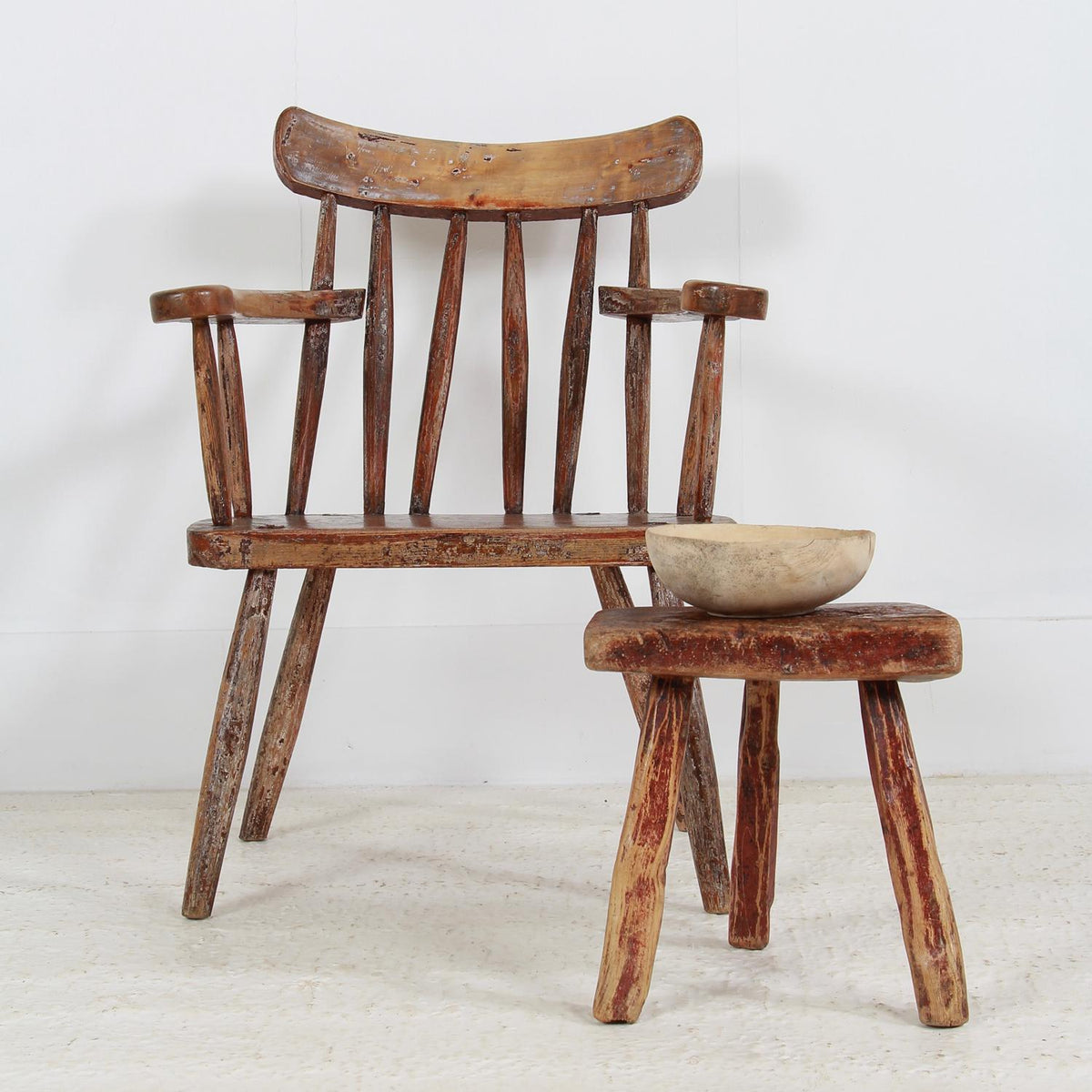 Scandinavian Three-Legged Folk Art Milking Stool