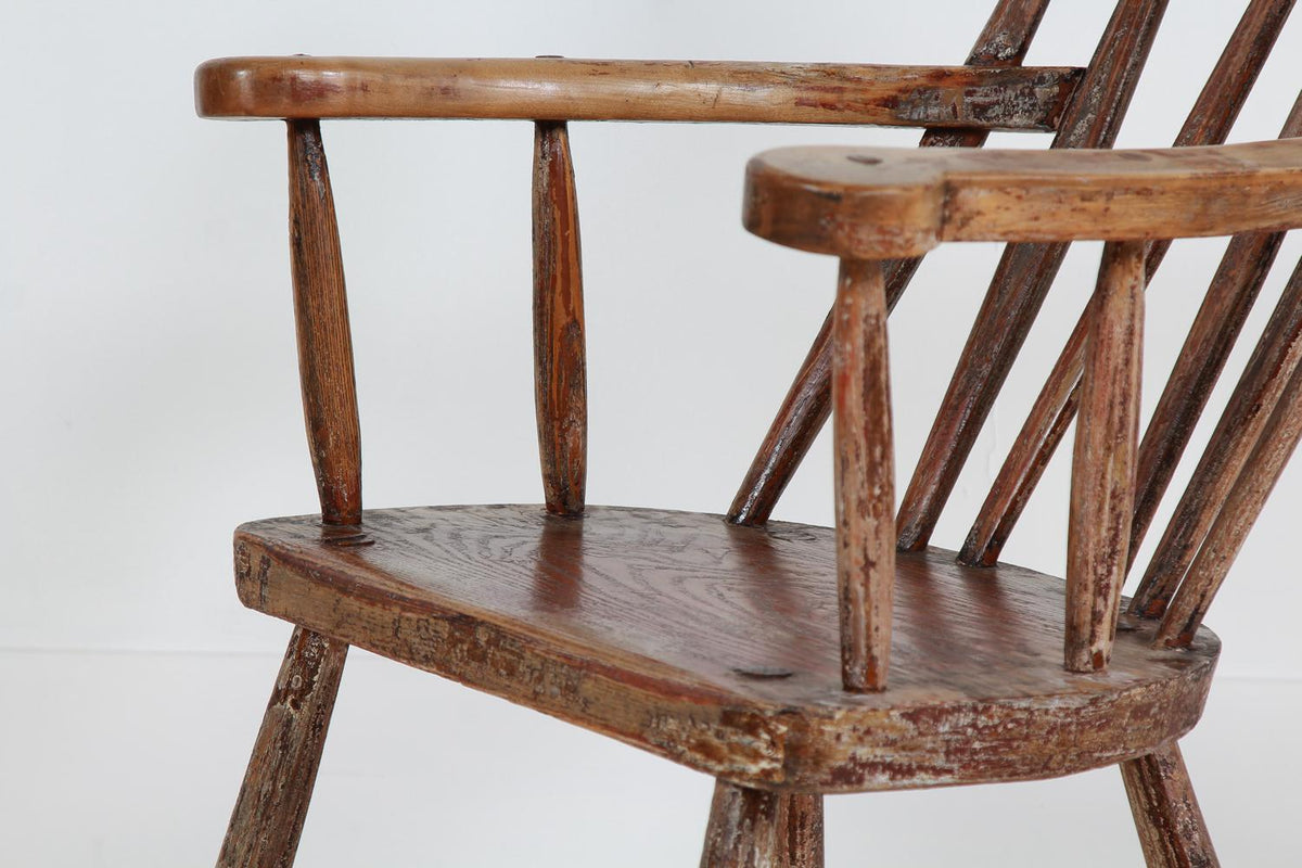 RARE IRISH 19TH PRIMITIVE BEECH AND ASH 'GIBSON CHAIR'
