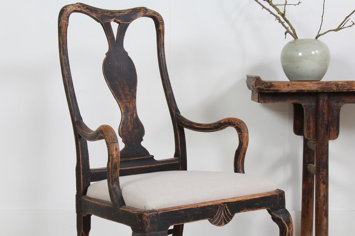 Grand Scale Stylish Swedish 18thC Rococo Armchair