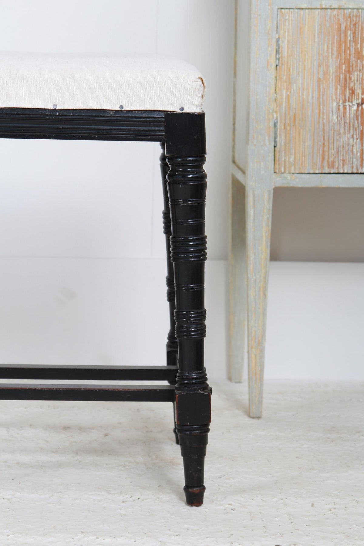 Ebonised English 19thC Dressing Stool