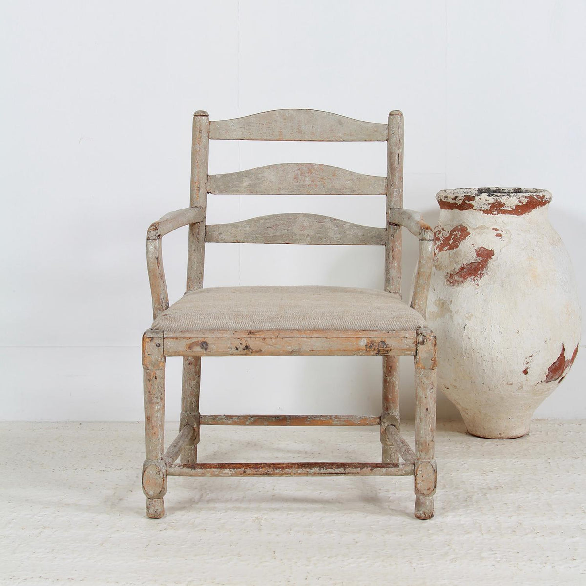 Swedish 18th Century Gripsholm Ladder Back Armchair