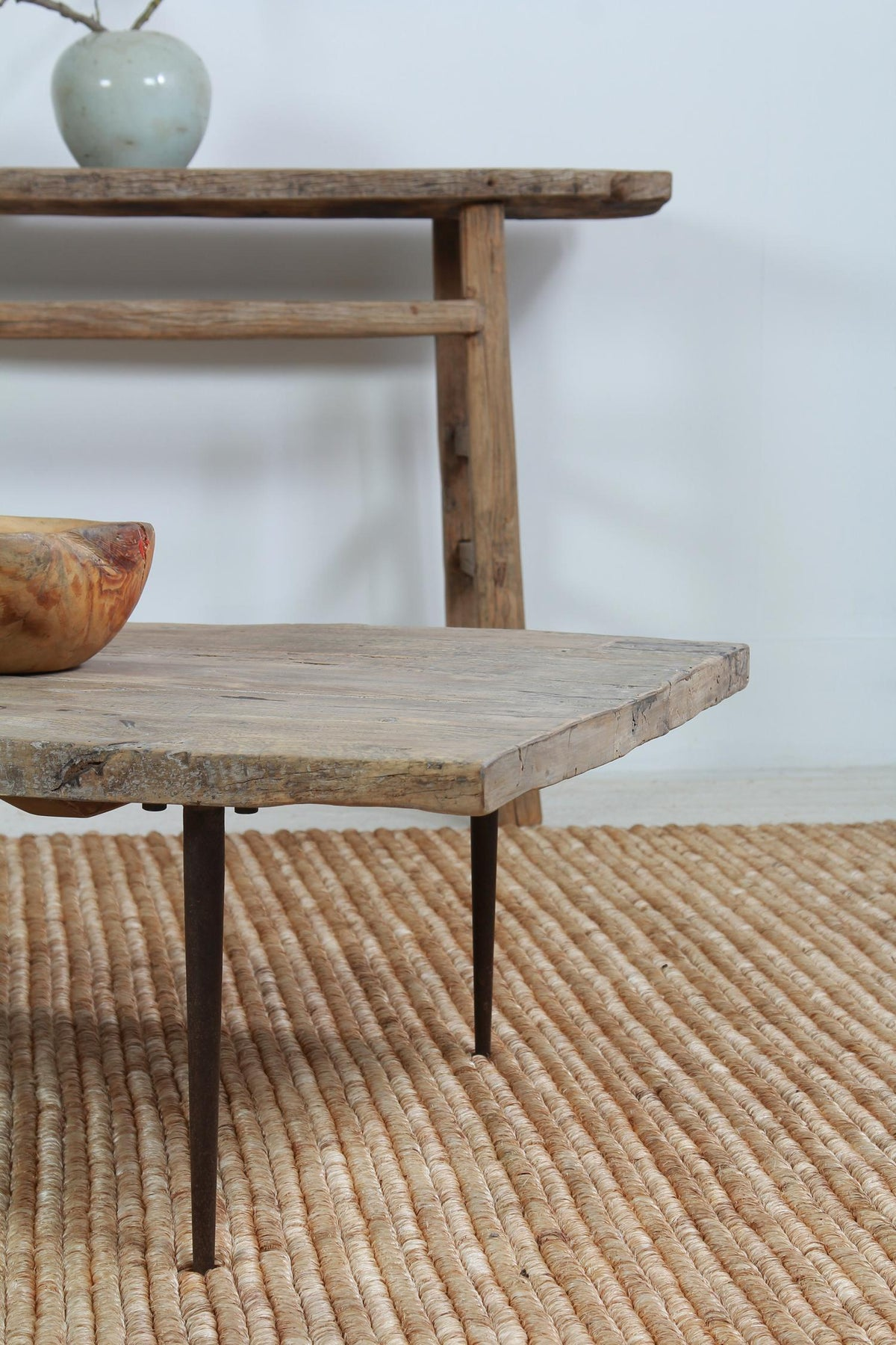 Large Stylish Elm Early 20thC Coffee Table with Metal Legs