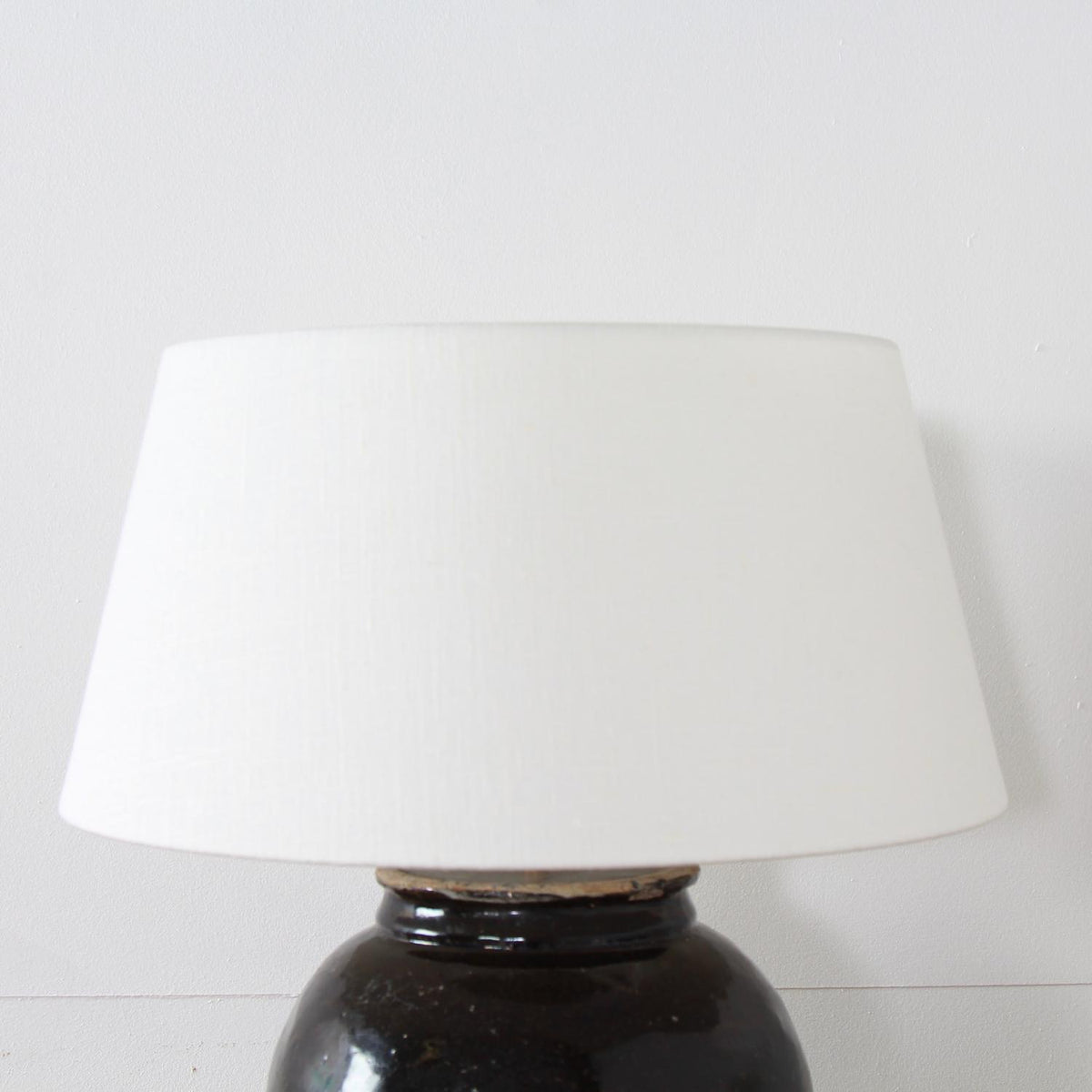 CHINESE WATER POT LAMP WITH WHITE BELGIUM LINEN SHADE