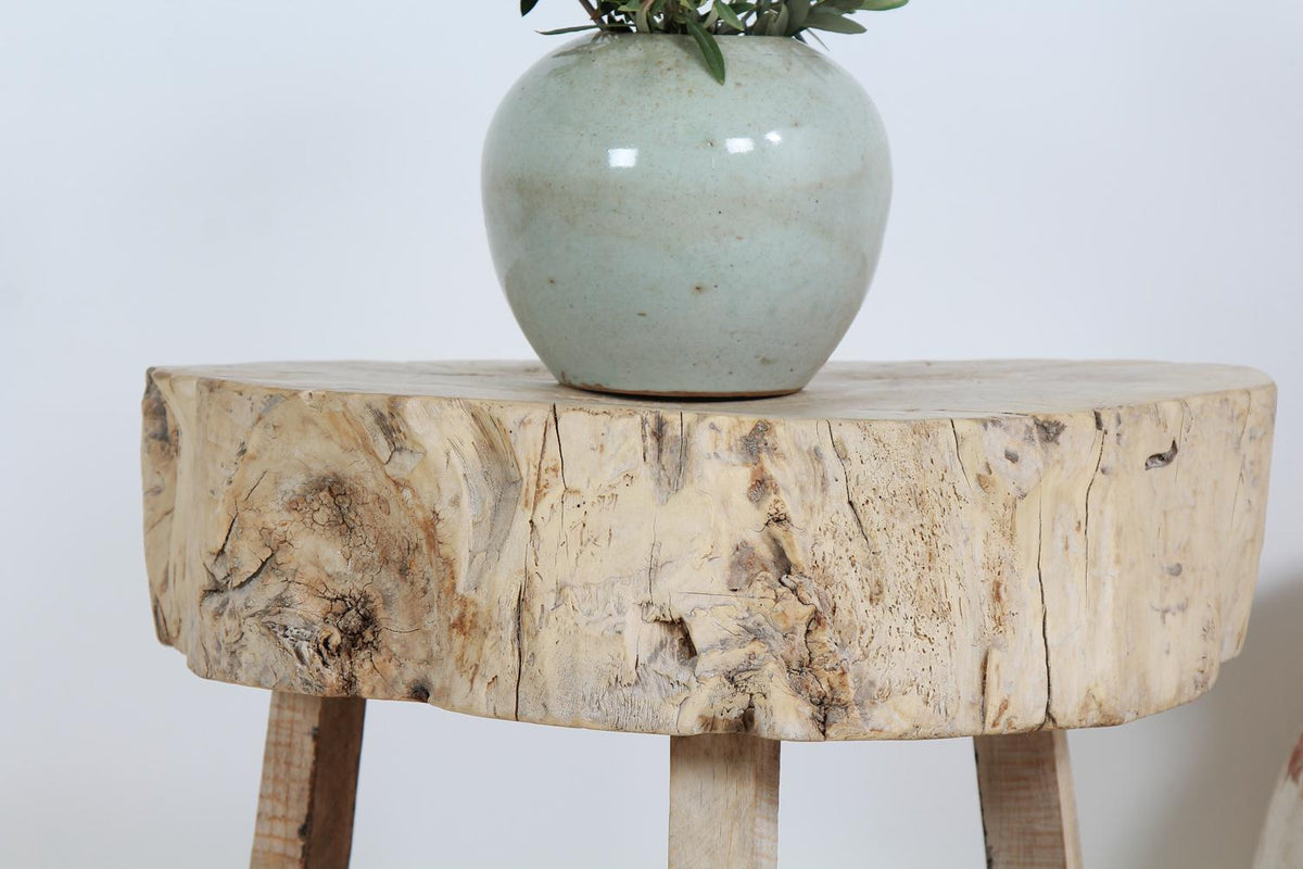 Rustic, Primitive Three-Legged Butchers Block Table