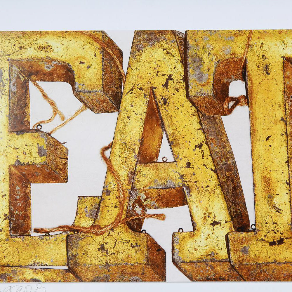 Photographic Still Life of Vintage French Tin Letters