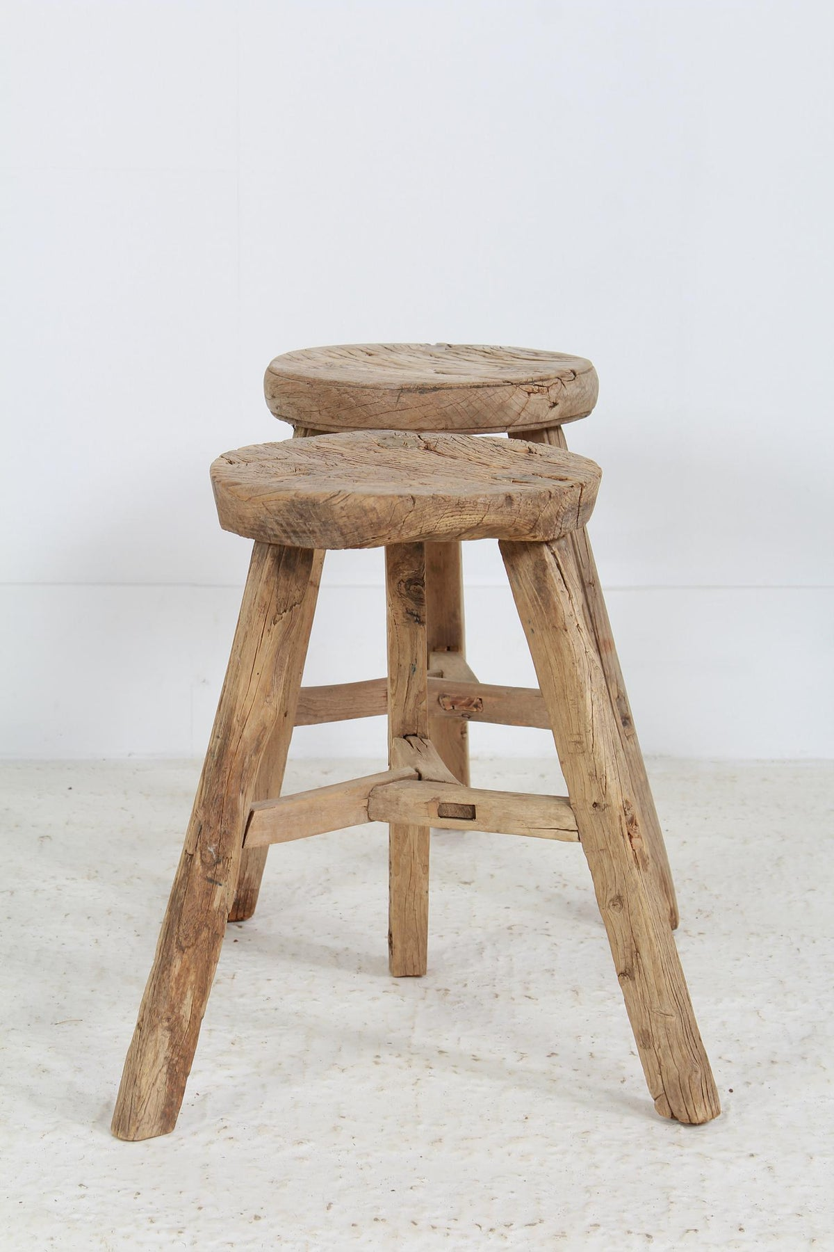 Rustic 19thC Century Three-Legged Pine Stools/Tables