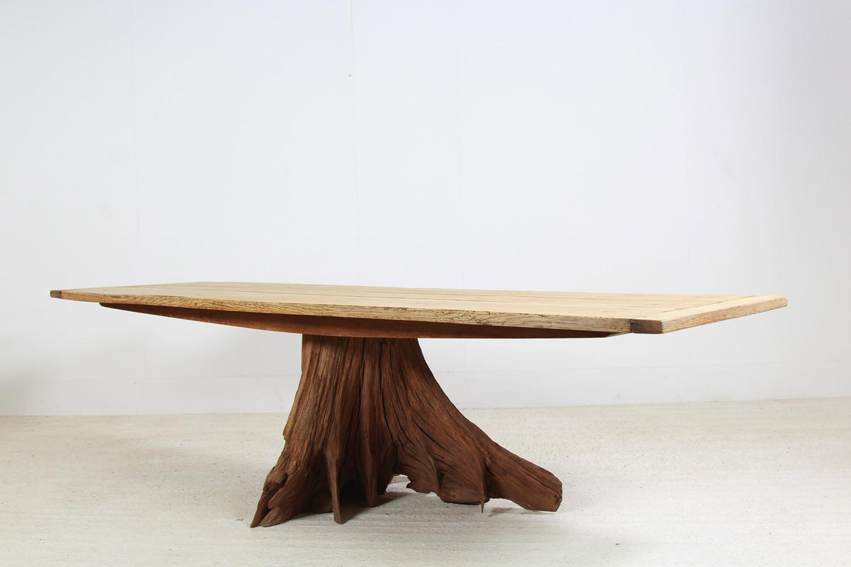 Impressive & Unique Oak Tree Butt Dining Table