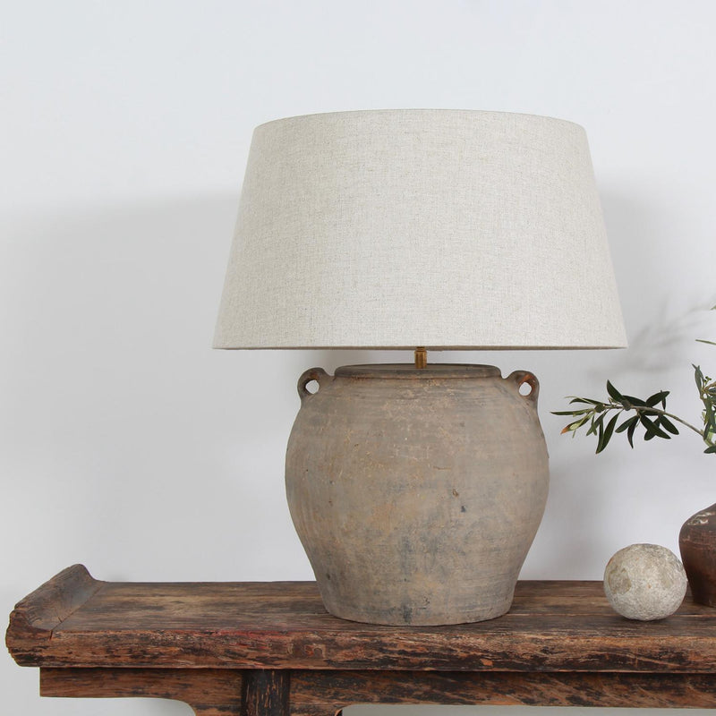 Rustic Unglazed Pottery Lamp with Natural Linen Drum Shade