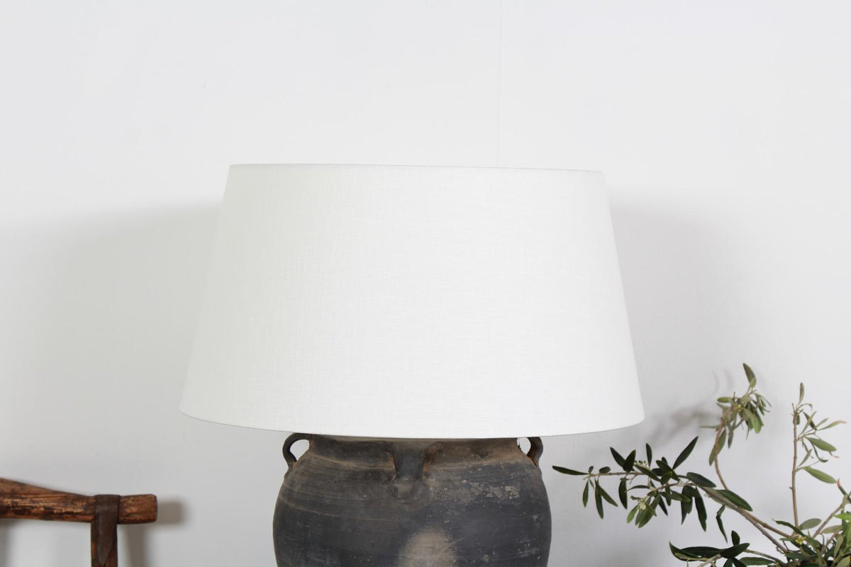 Authentic Ceramic Table Lamp with White Linen Drum Shade