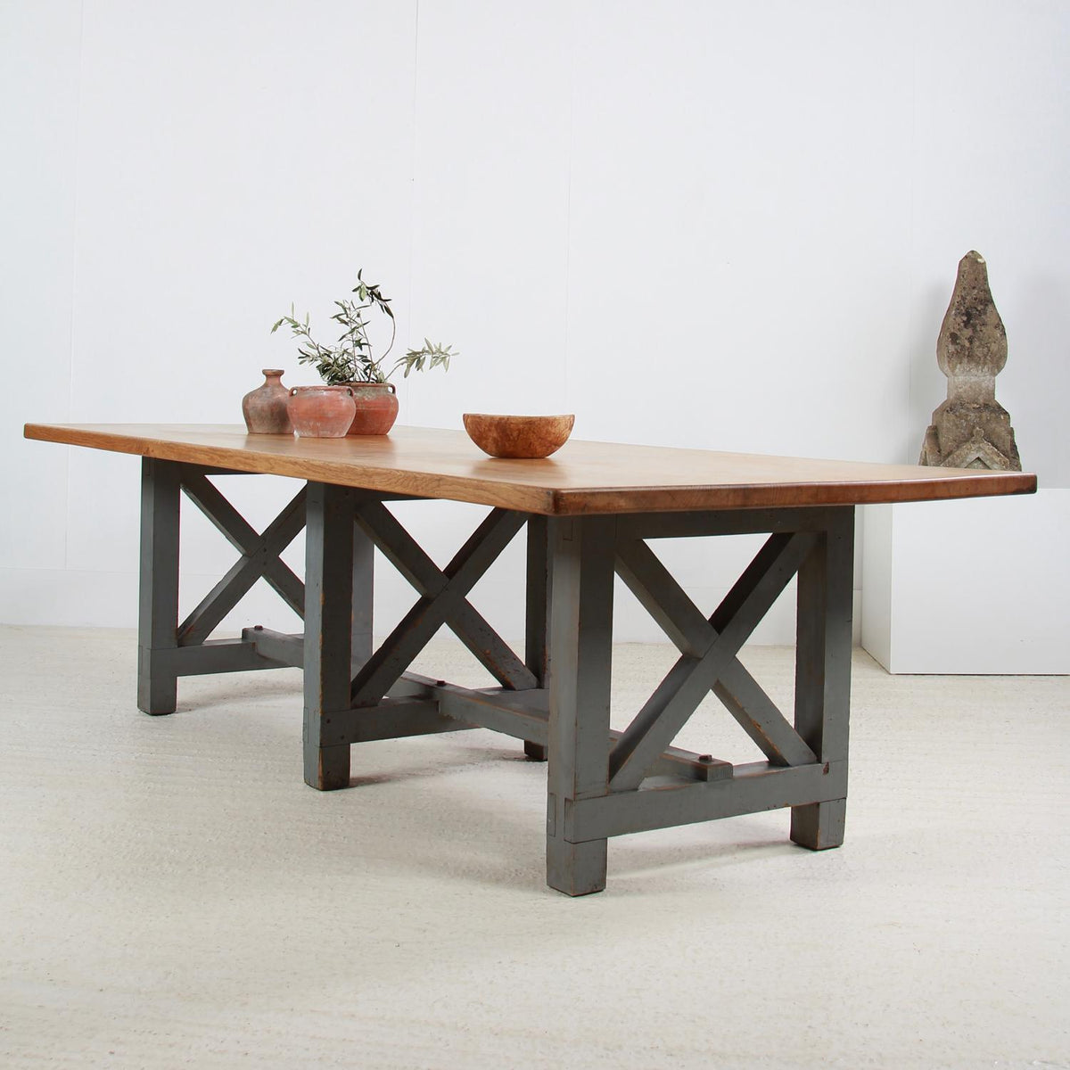 Massive Oak 20thC X- Frame Refectory Dining Table with Painted Base