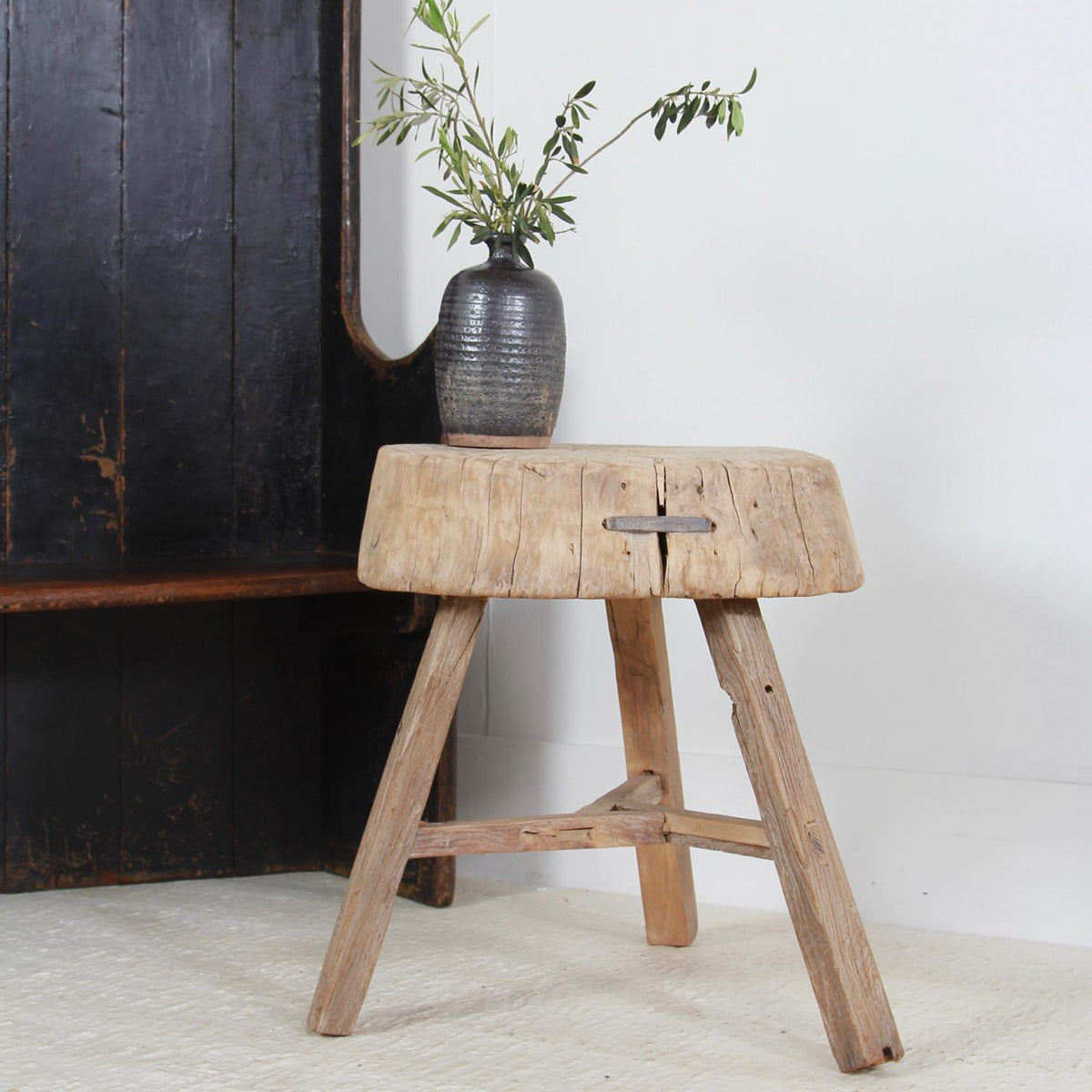 GNARLY, PRIMITIVE THREE-LEGGED ELM BUTCHERS BLOCK TABLE