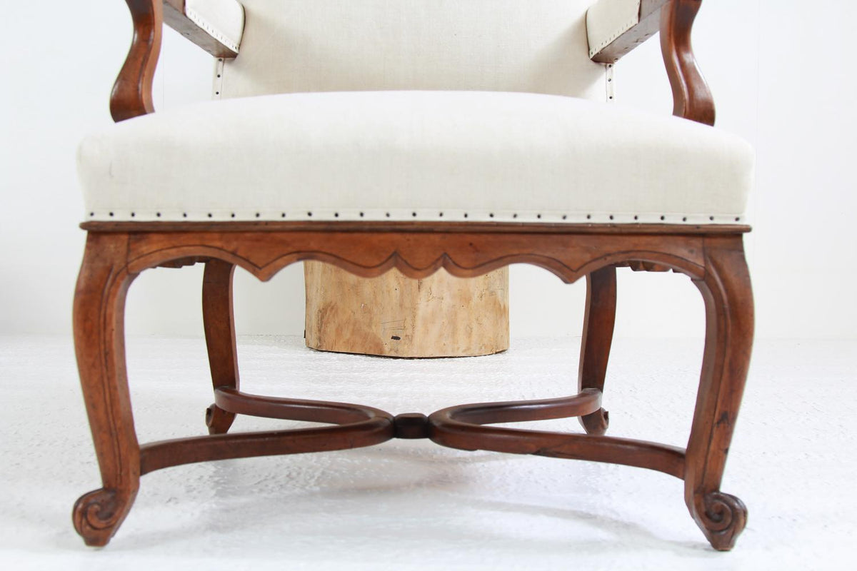 Fabulous Grand  Pair of French 19thC Walnut Fauteuils