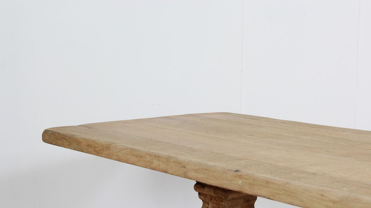 Grand Architectural Belgian Bleached Oak Dining Table