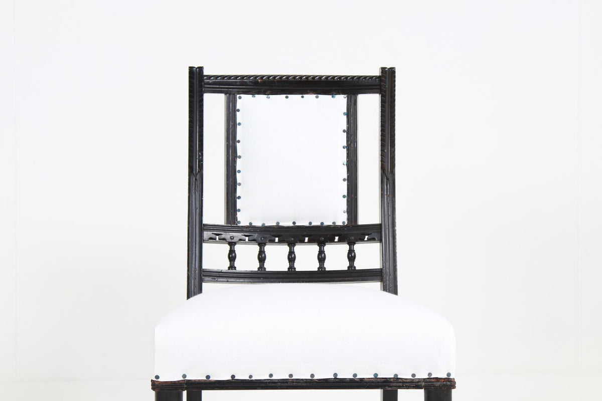 Pair of English 19thC Ebonised Side Chairs