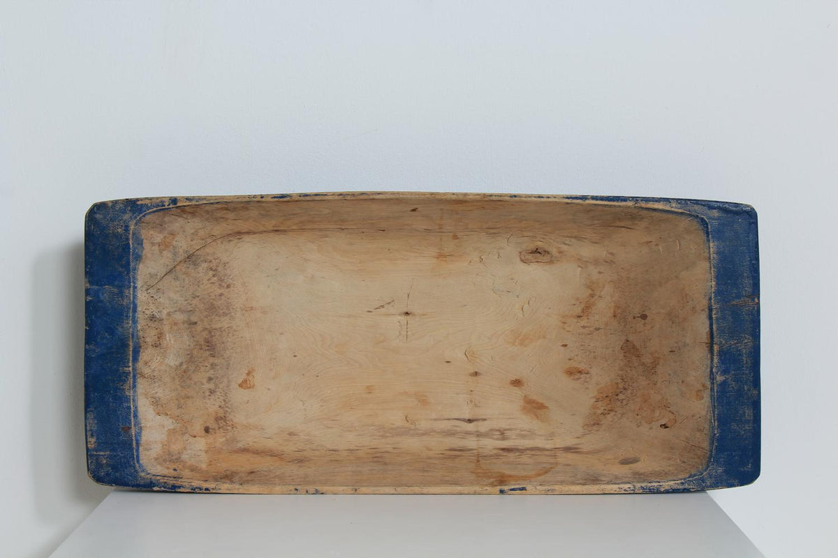 SUPERB SWEDISH 19THC FOLK ART SALTING TROUGH IN ORIGINAL BLUE PAINT