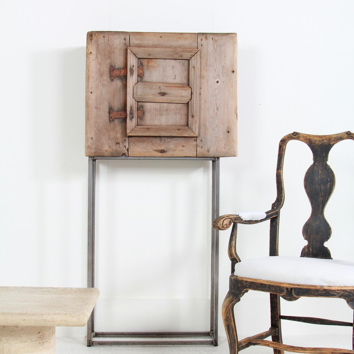 Baroque Swedish 18thC Cabinet on Metal Stand