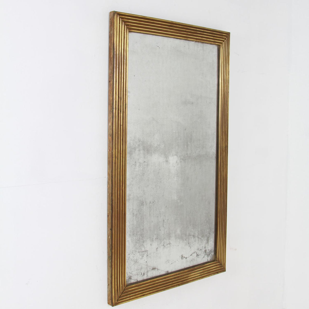 French 19th Century Mercury Mirror With Reeded Brass Frame